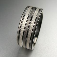 Men's Titanium Brushed Silver Stripes Wedding Band made by Spexton.com