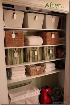Linen Closet, how to organize a linen closet, organized linen closet Linen Closet Organization, Organisation Hacks, Closet Storage, Organizing Tips, Bathroom Organization, Cleaning Tips, Container Store, Organizar Closets, Linen Cupboard