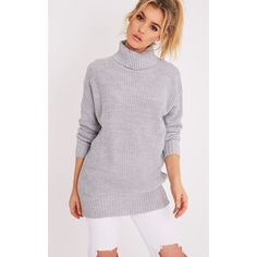Zora Grey Oversized Turtle Neck Knitted Jumper - 6 (£20) ❤ liked on Polyvore featuring tops, sweaters, grey, grey knit sweater, oversized grey sweater, knit turtleneck sweater, gray knit sweater and gray oversized sweater