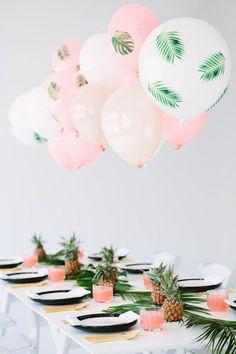 DIY Palm Leaf Balloons / http://www.deerpearlflowers.com/tropical-bridal-shower-ideas/