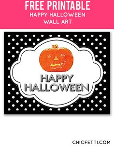 Free Printable Happy Halloween Art from @chicfetti - easy wall art diy