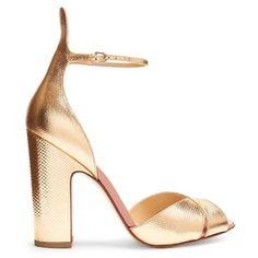 55d71d28eaf Francesco Russo Block-heel snakeskin-effect leather sandals · Rose Gold ...