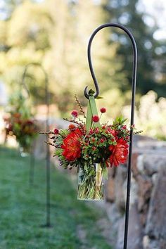 Hanging aisle arrangements.