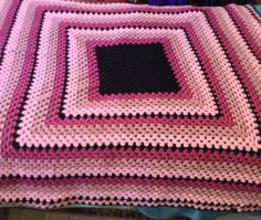 Handmade Crochet Preowned Afghan Pink And Black And More Pink, And More Pink  | eBay