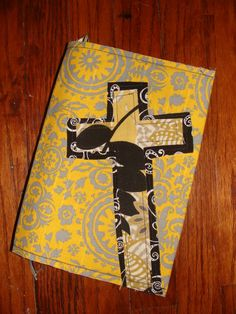 """I custom ordered this Bible cover.  I had her add a button closure, handles, and a pen holder.  Once I got it, I """"raggied"""" the cross edges.  I love it!!!"""