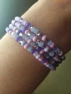 Purple Pink Beaded Wrap Bracelet!