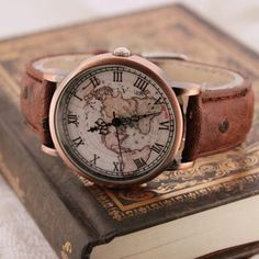 Old world map watch wrist watch for him her handmade men vintage world map pattern watch for men women christmas gift gift box gumiabroncs Choice Image