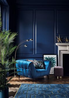 -Update your interior for autumn 2018 with our luxurious Midnight Tropics trend. … Update your interior for autumn 2018 with our luxurious Midnight Tropics trend. Bold blue velvets meet sleek gold metallics for an opulent vibe. Decor, Interior, Blue Rooms, Living Room Chairs, Living Room Decor, Wallpaper Living Room, House Interior, Interior Deco, Art Deco Living Room