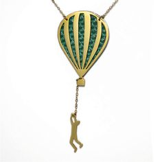 Hot air balloon necklace hang in there neon by virginiemillefiori