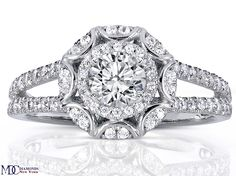 Engagement Ring - Victorian Halo Double Band Diamond Engagement Ring 0.96 tcw in 14K White Gold - ES1286