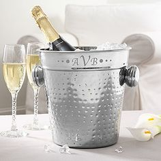 Personalized Stainless Steel Ice Bucket with Engraved Monogram - $39.95