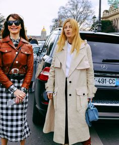 Ece Sukan and Ada Kokosar in an Acne Studios coat and with Loewe bag