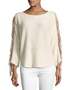 ZADIG & VOLTAIRE Banko Fringe Cashmere Sweater, Ecru. #zadigvoltaire #cloth #