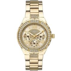 Guess Viva Gold Tone Ladies Watch (6 390 UAH) ❤ liked on Polyvore featuring jewelry, watches, gold tone watches, guess jewelry, guess wrist watch, gold tone jewelry and water resistant watches