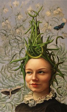 """JENNIFER KNAUS is an artist whose imagery comes from an interest in combining female iconography with still life painting / Seen here: """"Bean Head"""", Oil on Panel, 2010"""