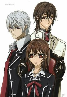 Vampire Knight- Yuki has always loved the vampire Kaname and Zero has always been her friend, but her world changes when Zero also becomes a vampire.