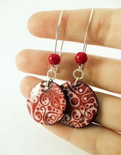 Shades Of Red Polymer Clay Earrings With Silver by PauwowHandmade, $16.00