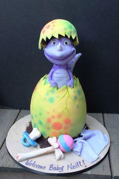 Baby Dino - Cake by Dina Baby Shower Cakes, Baby Boy Shower, Dinasour Cake, Dragon Baby Shower, Rodjendanske Torte, Dinosaur Birthday Cakes, Dinosaur Dinosaur, Dino Cake, Sculpted Cakes