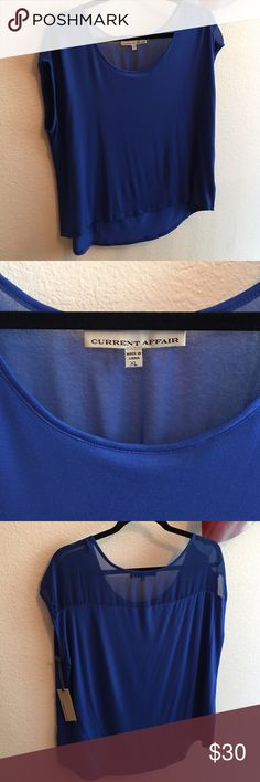 Selling this Royal Blue Current Affair Cap Sleeve Top - Size XL on Poshmark! My username is: kandikay. #shopmycloset #poshmark #fashion #shopping #style #forsale #Current Affair #Tops