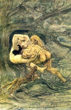 Félicien Rops La bataille des sexes dans des temps préhistoriques