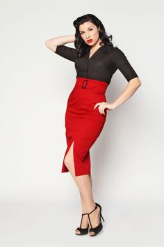 'Vogue' - Retro Fifties High Waisted Pencil Skirt By Heartbreaker (Red)