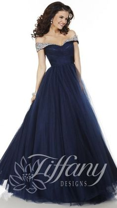 Tiffany Designs 61123 Navy Off The Shoulder Ball Gown - Prom Dresses