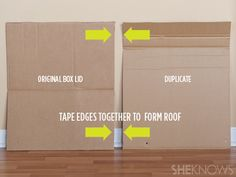 cardboard house step by step tutorial  create the roof of the cardboard playhouse