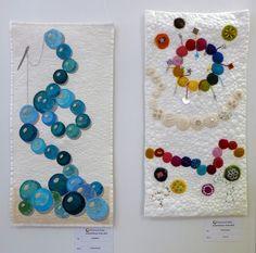 Claudia Scheja: aufgefädelt (li), Ina Frey: Perlenzauber (re) Ausstellung 'Perlenquilts' – Ausschreibung der Patchwork Gilde