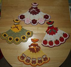 4 Crochet Doily Girl Pattern Lot- Owls, Roses, Sunflowers, and Apples
