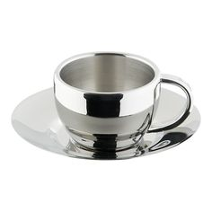 Stainless Steel Espresso Cup with Saucer $9.95 must admit I do not drink coffee but I just had to have these cups.