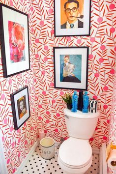 Boho Home Decor Colorful Powder Room Before & After PMQ for two.Boho Home Decor Colorful Powder Room Before & After PMQ for two Wallpaper Inspiration, Wallpaper Ideas, Eclectic Wallpaper, Bright Wallpaper, Wallpaper Designs, Wallpaper Decor, Toilette Design, Sweet Home, Powder Room Design