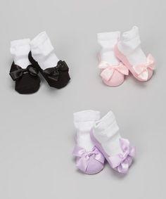 Another great find on #zulily! Pink & Black Bow Ballet Socks Set by Lovespun #zulilyfinds