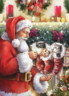 Leading Illustration & Publishing Agency based in London, New York & Marbella. Christmas Scenery, Christmas Cats, Christmas Pictures, Winter Christmas, Christmas Holidays, Christmas Decorations, Xmas, Decoupage, Santa Claus Is Coming To Town
