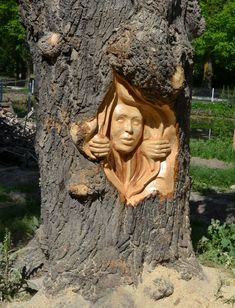 Romanian Artist Uses A Chainsaw To Turn Trees Into Sculptures, And The Result Is Impressive Gabi Rizea is a artist from Romania. He creates incredible sculptures from wood and is well known in his country. Wood Carving Faces, Wood Carving Designs, Tree Carving, Wood Carving Patterns, Wood Carving Art, Art Sculpture En Bois, Sculpture Clay, Art Et Nature, Drawn Art