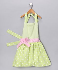 Another great find on #zulily! Fresh Green Polka Dot Apron - Kids #zulilyfinds