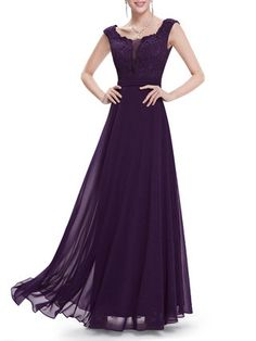 Purple Paneled Floral Scoop Neckline Elegant Evening Dress