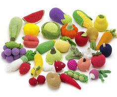 Big set (31 Pieces) - Crochet Fruit and Vegetables, teether teeth, waldorf, eco-friendly toys, play food kitchen - MiniMom's -