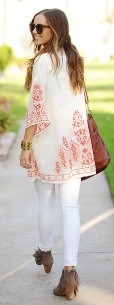 Cream And Orange Embroidery Kimono