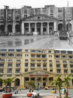 DON ROMAN SANTOS BUILDING or  Bank of The Philippines Islands (BPI) Location: Santa Cruz, Manila Philippines Wayback 1945 *It was built in 1894 and expanded in 1957 *The site has been the original offices for Monte de Piedad Savings Bank from 1894 to 1937 *It then became an American Red Cross operated hospital from 1945 to 1947 *Currently the ground floor serves a branch for the Bank of the Philippines Islands after it acquired prudential bank in 2005 Historical Architecture, Architecture Design, Filipino Architecture, American Red Cross, Manila Philippines, Ground Floor, Old Photos, Beautiful Places, Savings Bank