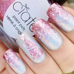 Pink Glitter Christmas Nails