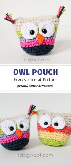 This tiny owl looks like a toy but in fact its a pouch! You can keep coins inside or use it to store something else for example headphones. Crochet Change Purse, Crochet Coin Purse, Crochet Pouch, Crochet Purses, Free Crochet, Crochet Bags, Crochet Flowers, Knit Crochet, Purse Patterns Free
