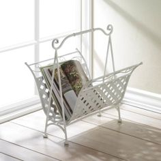 """by Accent Plus Keep your magazines, catalogs and books nearby and neatly organized with this simply charming rack. The frame features a basket weave design with scrolling flourishes. It's perfect for next to your arm chair, couch, or even in the powder room. 17.5"""" x 16.5"""" x 18.5""""  www.allgooddecor.com/shop.html #allgooddecor #decorations #gifts #candles #toys #discount #furniture #candleholders #home #figurines #lighting #pictures #mirrors #jewelry #garden #clearance #kitchen #bedandbath"""