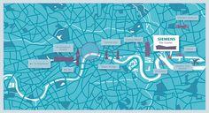 Crush | Siemens - The Crystal Map Illustration London Photos, London Art, Map Illustrations, Information Graphics, Vintage London, Map Design, Creative Photos, Art Direction, Infographics