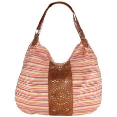 This striped bag is loads of fun with its metallic thread accents, faux leather cut-out design, and metal studs!