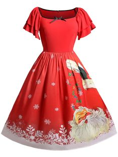 199e91a50ef Christmas Plus Size Santa Claus Print Vintage Dress Christmas Print Dresses