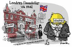 Plantu (2016-07-09) LONDRES: APRES LE BREXIT (et la dérobade de Boris Johnson )L'IMMOBILIER VA MAL. Dessin publié dans Le Monde.