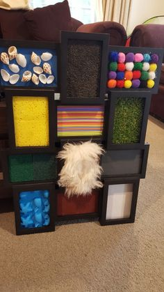 Sensory board made from items around home and a multi photo frame Baby Sensory Play, Sensory Wall, Sensory Rooms, Baby Play, Sensory Boards, Sensory Board For Babies, Sensory Balloons, Baby Learning Activities, Nursery Activities
