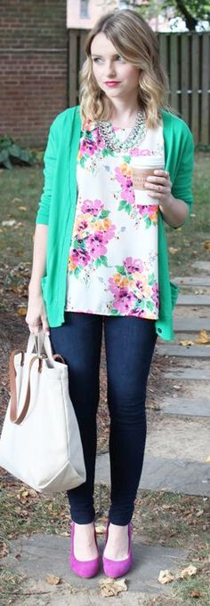 outfit post: floral blouse, green cardigan, bootcut jeans, black ballet flats