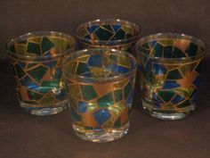 Barware Collection - STAINED GLASS - OLD FASHIONED GLASSES