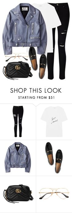 """""""Untitled #3159"""" by elenaday ❤ liked on Polyvore featuring Miss Selfridge, Yves Saint Laurent, Acne Studios, Gucci and Ray-Ban"""